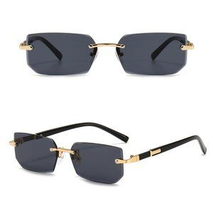 Detroit Style Square Rimless Sunglasses BLACK